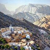 Mountain villages, Jebel Akhdar. Watercolour 72 x 49cm
