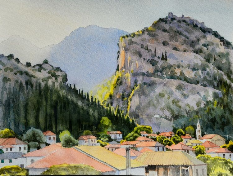 Mystras, Greece. Watercolour 40 x 30cm