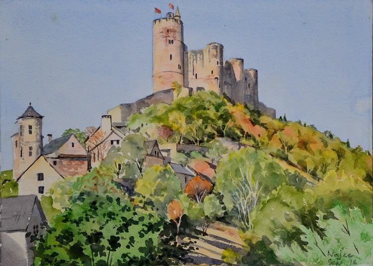 Najac Castle, France. Watercolour 37 x 27cm
