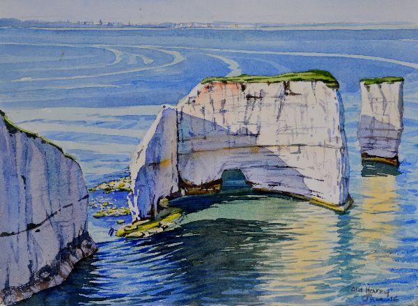 Old Harry Rocks, Dorset. Watercolour 37 x 27cm