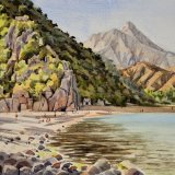 Olympos beach & Mt Tahtali, Antalya, Turkey. Watercolour 39 x 30cm