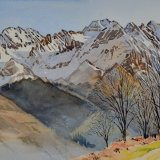 Overlooking the Vallee du Louron, French Pyrenees. Watercolour 39 x 30cm