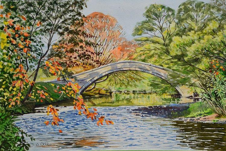 Packhorse bridge over the Nidd near Birstwith. Watercolour 44 x 30cm