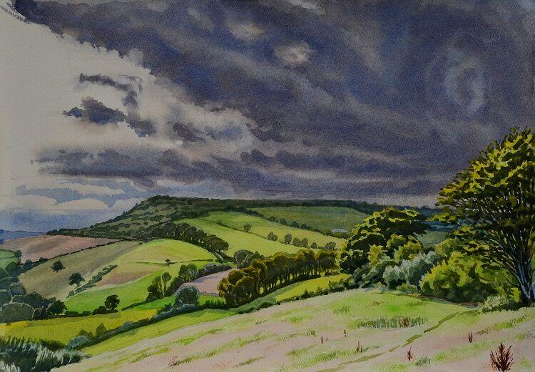 Pilsdon Pen, Dorset  Watercolour 50 x 36cm