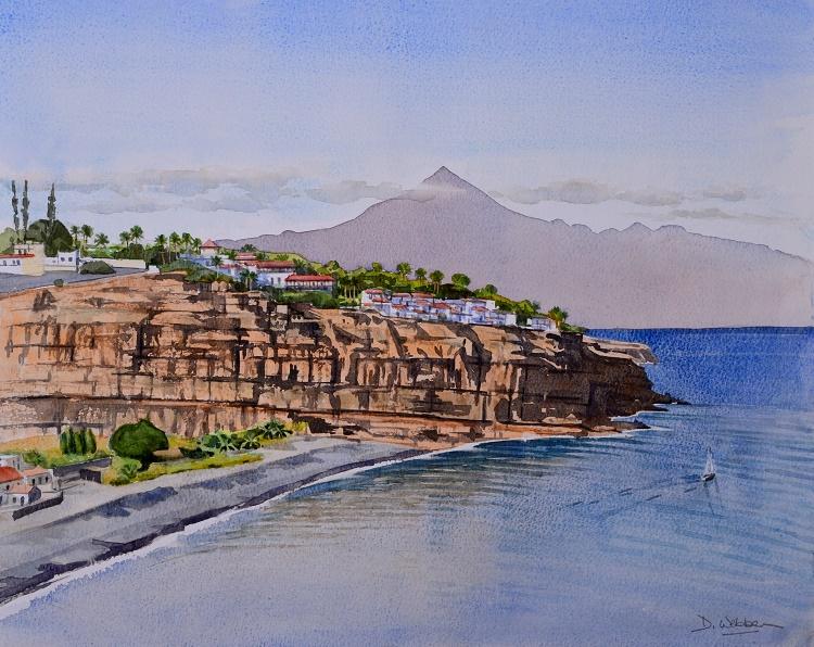 Playa Santiago, La Gomera and Mt Teide. Watercolour 49 x 39cm