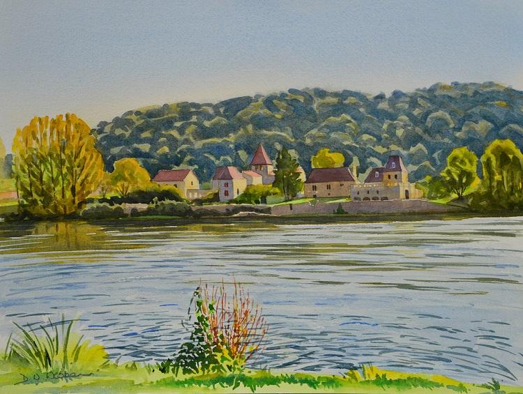 Pontours across the Dordogne. Watercolour 40 x 30cm
