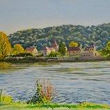 Pontours across the Dordogne. Watercolour 40 x 30