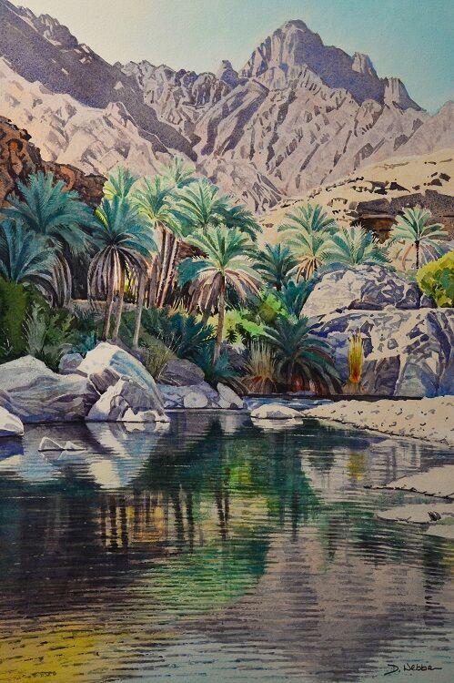 Pool in Wadi Tayeen, Oman Watercolour 46 x 71cm