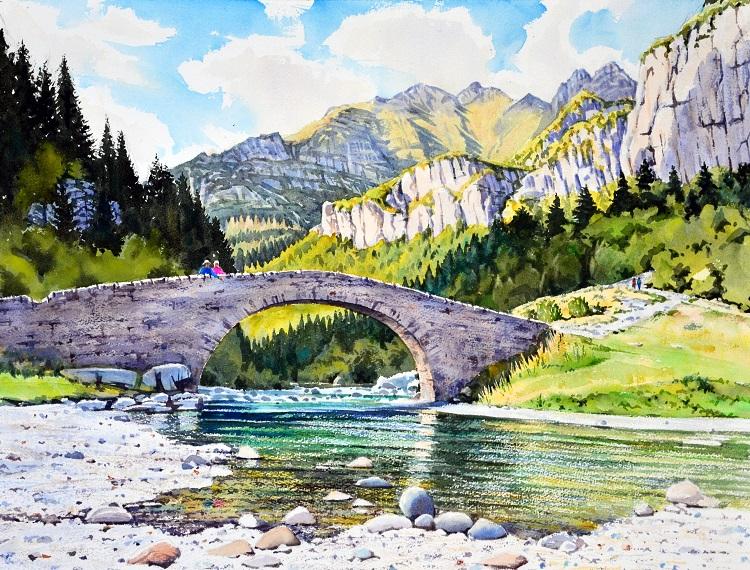 Puente de Bujaruelo, Spanish Pyrenees. Watercolour 59 x 45cm