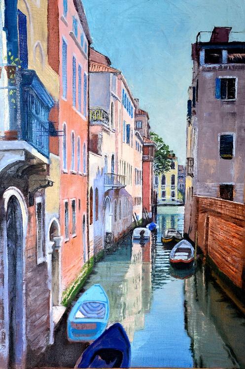 Quiet Backwater, Venice. Oil 32.5 x 45.5cm