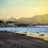 Qurum Beach, Evening. Watercolour 59 x 35cm