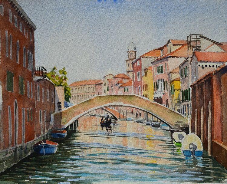 Rio degli Ognissanti, Venice. Watercolour 35 x 43cm