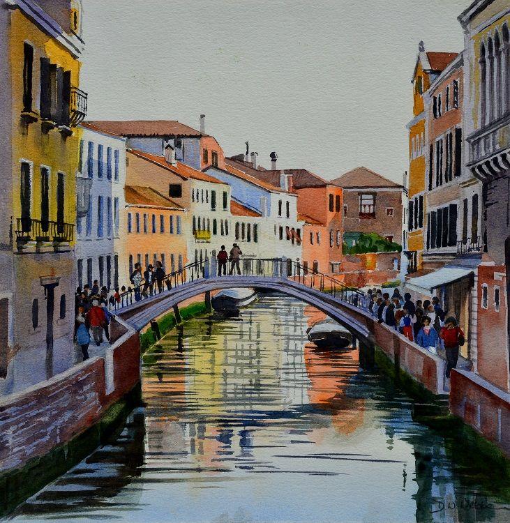 Rio di San Trovasso, Venice. Watercolour 36 x 36cm