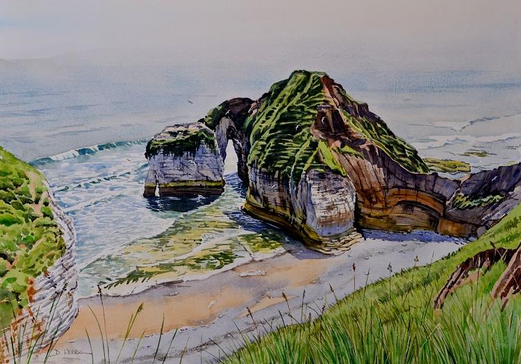 Rocks at Flamborough Head, Yorkshire. Watercolour 67 x 47cm