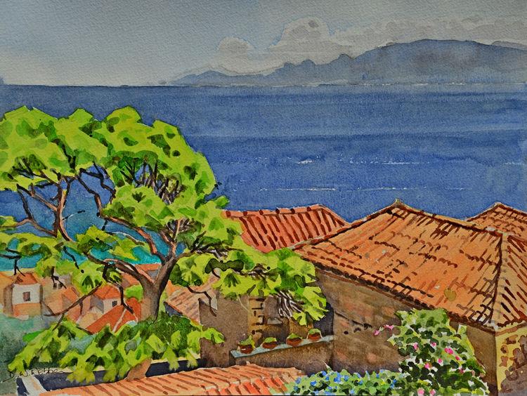 Roof tops. Monemvasia, Greece. Watercolour 40 x 30cm