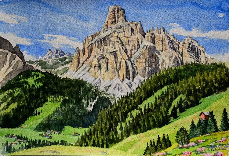 Sassongher, Dolomites. Watercolour 47 x 32cm
