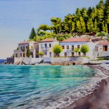 Seafront at Paralia, Pelleponese, Greece. Watercolour 50 x 40cm