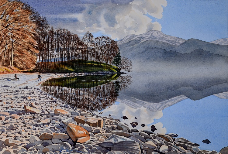 Skimming stones, Loch Katrine, Trossachs. Watercolour 67 x 45.5cm