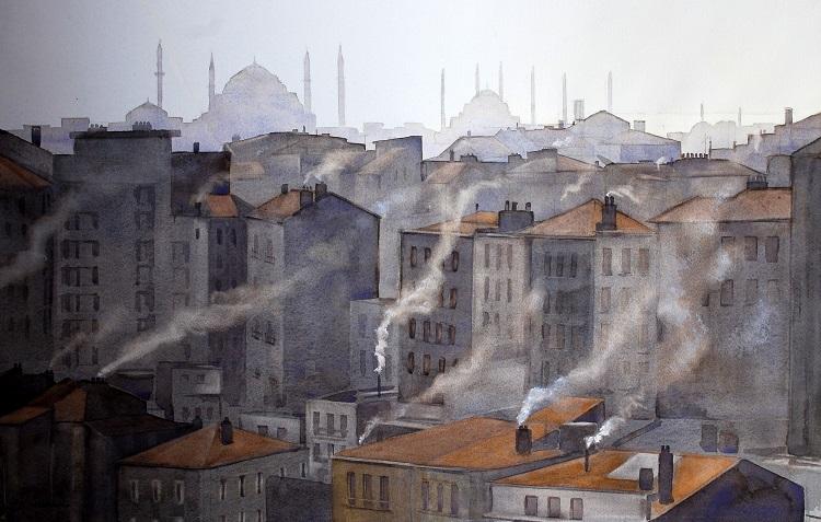 Smoky morning, Istanbul. Watercolour 69 x 44cm