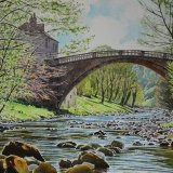 Spring morning, Greta Bridge, County Durham. Watercolour 57 x 38cm