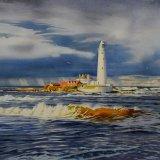 St Marys Island, Whitley Bay. Stormy Day. Watercolour 70 x 48cm