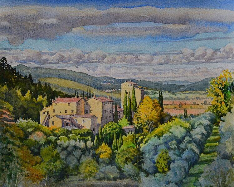 Stigliano, Tuscany.  Watercolour 48 x 39cm