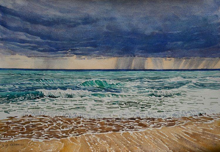 Stormy sky, Tiwi coast. Watercolour 59 x 41cm