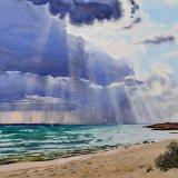 Stormy sky near TIwi. Watercolour 56.5 x 47cm