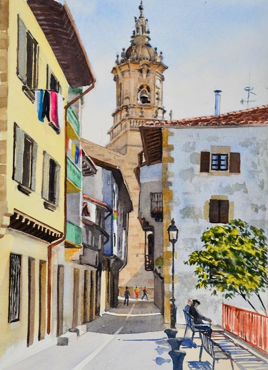 Street & church tower, Hondarribia, Basque Country. Watercolour 29 x 39cm