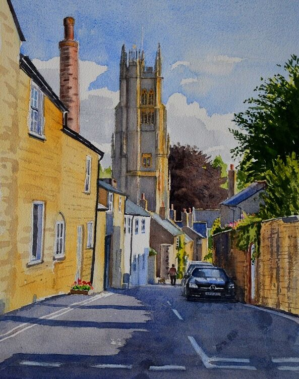 Street in Beaminster, Dorset  Watercolour 34 x 46 cm
