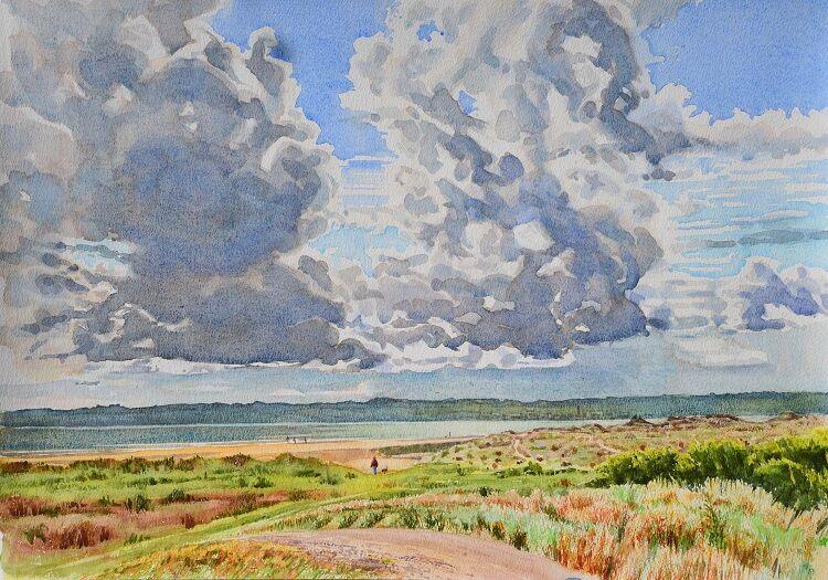 Tay Firth Dunes Watercolour 58 x 41cm