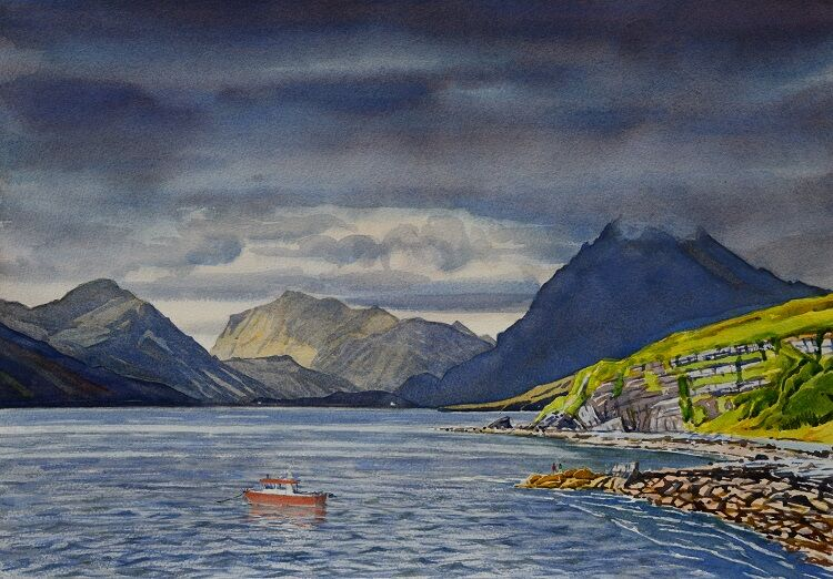 The Cuillens across the bay from Elgol, Skye Watercolour 51 x 36cm