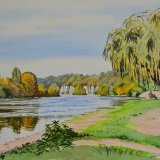 The Dordogne at Limeuil. Watercolour 40 x 30cm