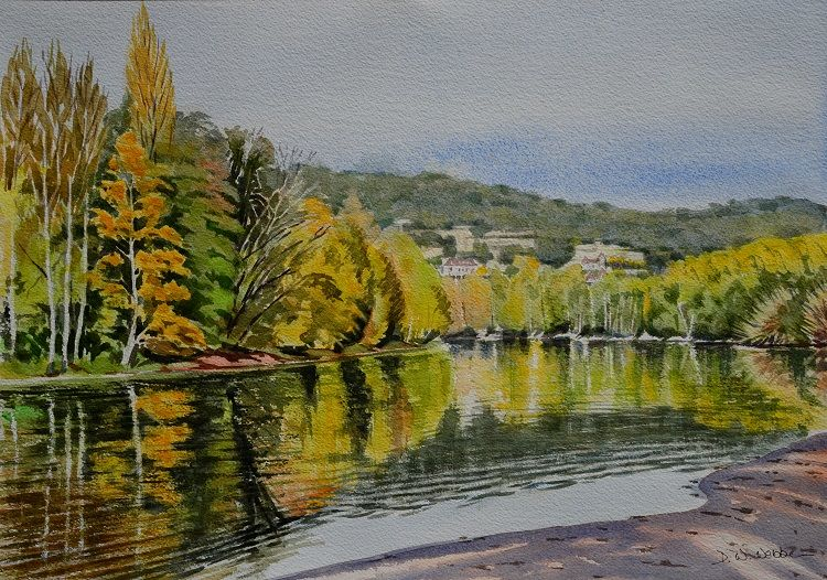 The Dordogne near La Roque-Gageac, France. Watercolour 50 x 35cm