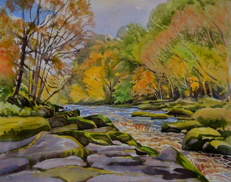 The Strid, Wharfedale. Watercolour 45 x 35 cm