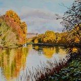 The Thames near Richmond, Autumn. Watercolour 49 x 39cm