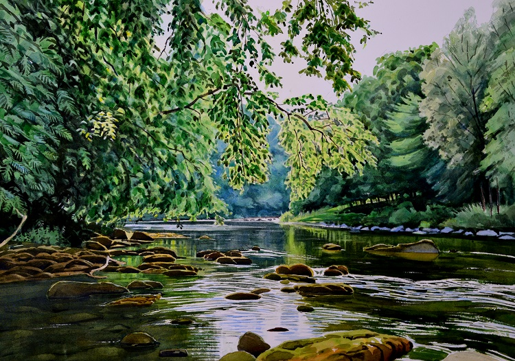 The Ure at Hackfall, North Yorkshire. Watercolour 68 x 48cm