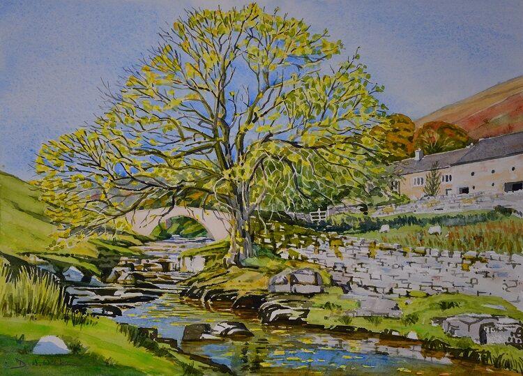The Wharfe at Yockenthwaite.  Watercolour 52 x 38cm