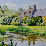 The ford at Upper Slaughter, Cotswolds. Watercolour 40 x 30cm