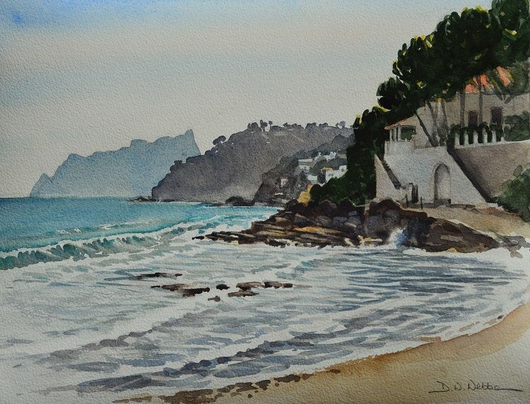 Towards Calpe from Moraira, Spain. Watercolour 40 x 30 cm