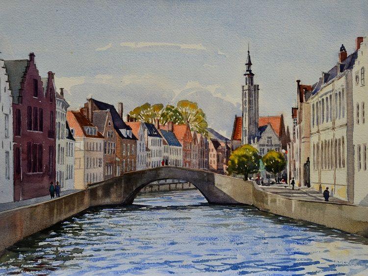 Towards Jan Van Eyckplein, Bruges. Watercolour 40 x 30cm