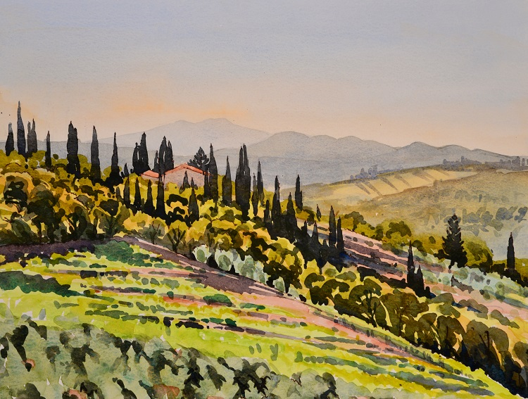 Tuscan Hillside, Italy. Watercolour 39 x 30cm