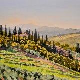Tuscan Hillside. Watercolour 39 x 30cm