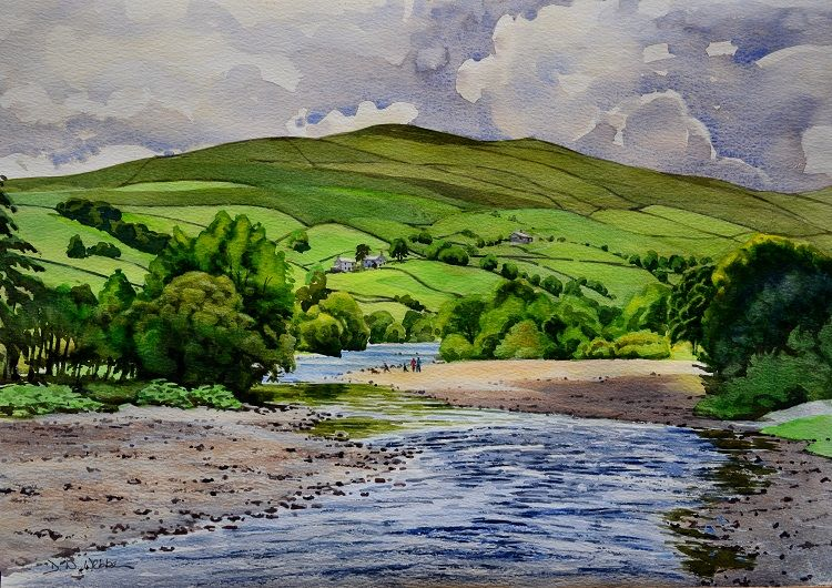 Up Swaledale from Isles Bridge. Watercolour 58 x 41cm
