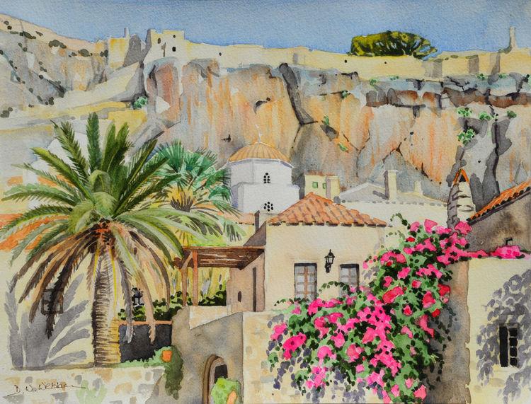 View in Monemvasia, Greece. Watercolour 40 x 30cm