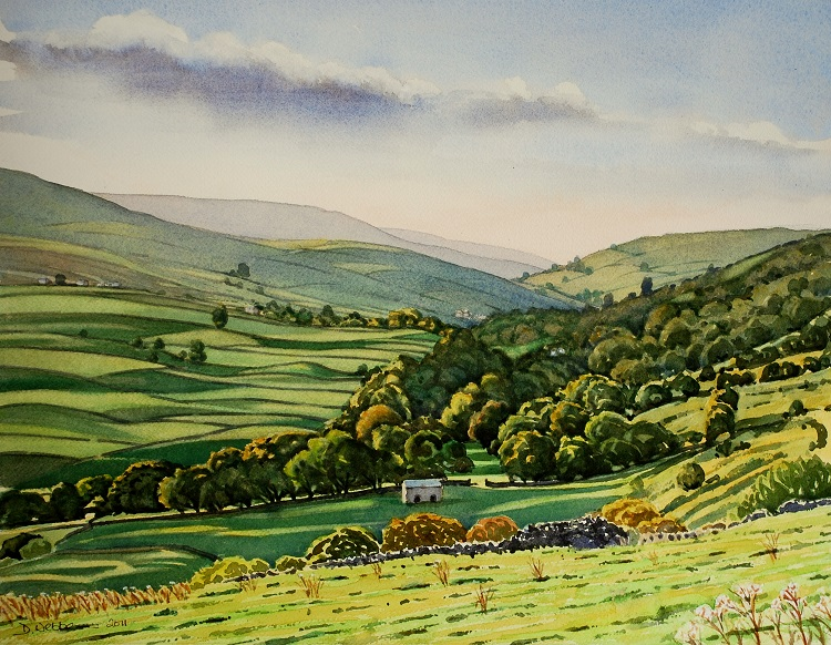 View up Arkengarthdale. Watercolour 57 x 38cm