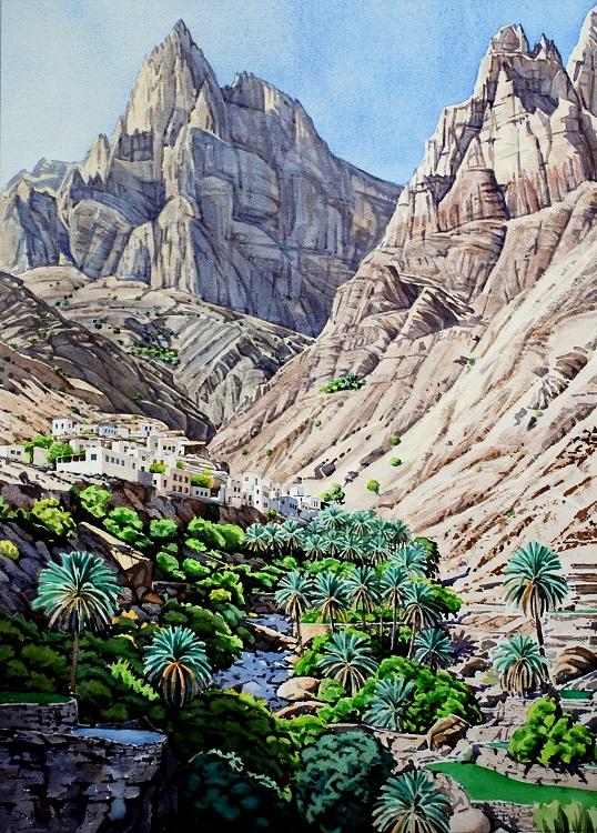 Village under Jebel Shams. Watercolour 49 x 67cm