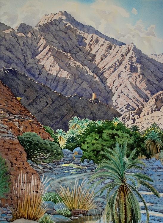 Wadi Bani Ghafr, Oman. Watercolour 48.5 x 66cm
