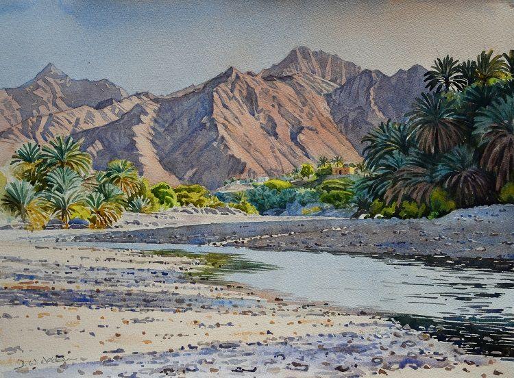 Wadi Hoqain, evening. Watercolour 55 x 41cm (NFS)