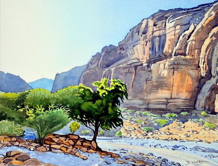 Wadi Arbayeen. Watercolour 50 x 39cm